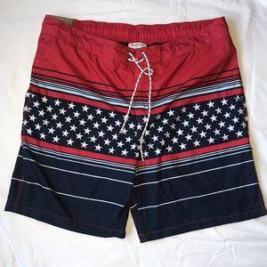 Goodfellow Men's Americana Swim Board Shorts XXL